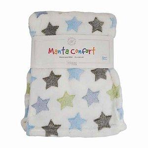 Manta para bebê Confort super macia 75cm x 100cm - Antialérgica Branca Estrelas