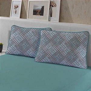 Kit: 1 Lençol de Malha Casal liso e 2 Fronhas Estampadas Edromania Verde Granada