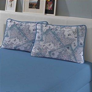 Kit: 1 Lençol de Malha Casal liso e 2 Fronhas Estampadas Edromania Azul Porto