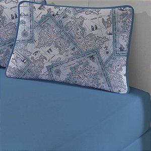 Kit: 1 Lençol de Malha Solteiro liso e 1 Fronha Estampada Edromania Azul Porto