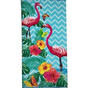 Toalha de Praia aveludada 100% algodão Flamingo Zig Zag Dohler