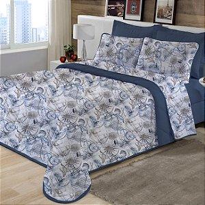 Kit Cobreleito Solteiro 2 peças Cobreleito de Malha com Porta Travesseiro Edromania Azul Ocean
