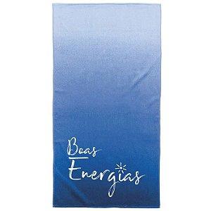 Toalha de Praia Karsten 100% algodão aveludada Boas Energias Vibrações Azul