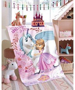 Toalha de Banho Felpuda Disney Princesa Sofia Unicórnio Dohler