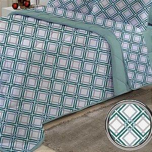 Edredom Queen avulso de Malha 100% algodão Edromania Dupla Face Verde Quarter