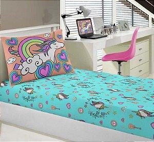 Jogo de Cama Solteiro 2 peças lençol com elástico estampado + fronha de Malha Unicórnios Portal Joy
