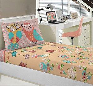 Jogo de Cama Solteiro 2 peças lençol com elástico estampado + fronha de Malha Coruja Portal Joy