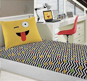 Jogo de Cama Solteiro 2 peças lençol com elástico estampado + fronha de Malha Emogis Portal Play