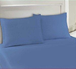 Lençol avulso com elástico King de malha Slim Edromania Azul