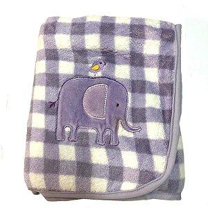Manta de Bebê Antialérgica Microfibra Buettner Lilás Elefante