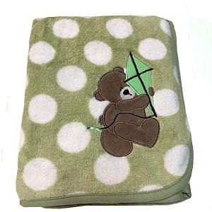 Manta de Bebê Antialérgica Microfibra Buettner Urso Pipa Verde