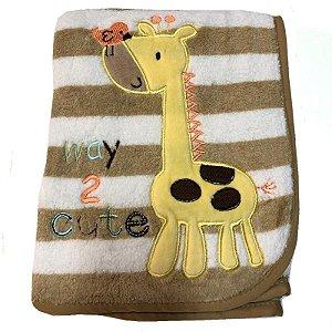 Manta de Bebê Antialérgica Microfibra Buettner Marrom Girafa