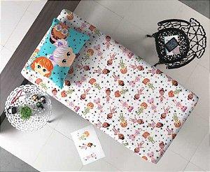 Jogo de Cama Solteiro 2 peças lençol com elástico estampado + fronha de Malha Portal Joy Bonecas Juju
