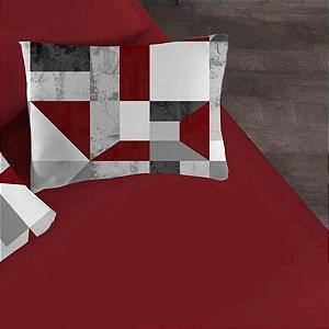 Jogo de Cama Solteiro 2 peças de Malha Portallar Lençol com elástico e Fronha Camurça Rubi Vermelho