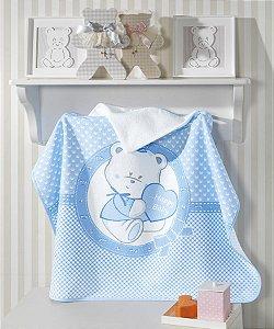 Toalha de Banho com Capuz Felpuda para bebê Happy Baby Urso Azul - Dohler