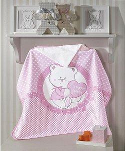 Toalha de Banho com Capuz Felpuda para bebê Happy Baby Urso Rosa - Dohler
