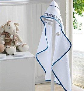 Toalha de Banho com Capuz de Bebê Baby Kids Dohler Branca com Azul Animais