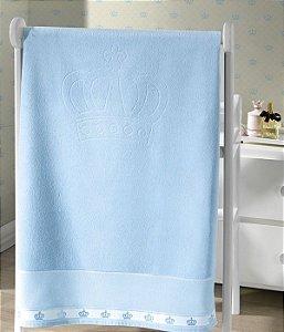 Toalha de Banho Aveludada para Bordar Classic Coroas Azul Dohler