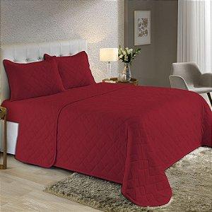 Kit Cobre Leito Casal de Malha com Porta travesseiros Edromania Fine Vermelho