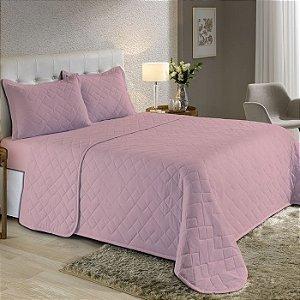 Kit Cobre Leito Casal de Malha com Porta travesseiros Edromania Fine Make Rosa