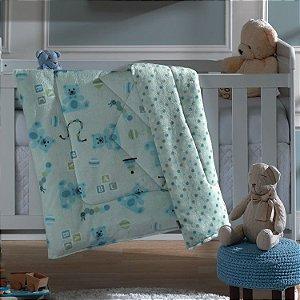 Edredom de Berço Plush Baby Hedrons Dupla Face Urso Teddy