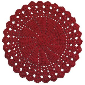 Sousplat de Crochê individual feito à mão Vitória Vermelho