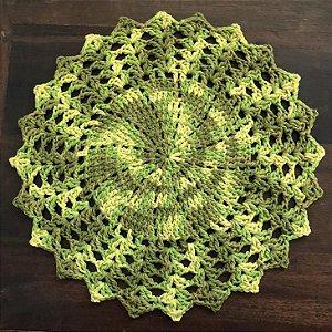 Sousplat de Crochê individual feito à mão Vitória Mescla Verde