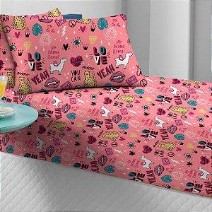 Jogo de Cama Solteiro 2 peças estampado lençol com elástico e fronha de Malha Portal Play Lhamacórnio Candy