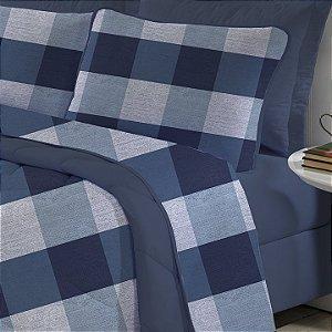 Jogo de cama Solteiro King 3 peças de Malha Edromania Azul Quadrato
