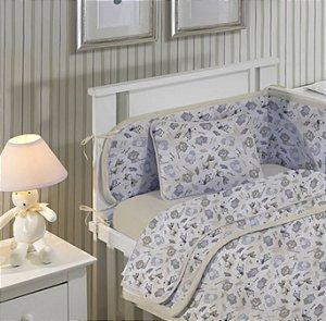 Jogo de Berço Bebê de Malha 2 peças lençol com elástico liso e Fronha estampada Bege Floresta