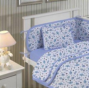 Jogo de Berço Bebê de Malha 2 peças lençol com elástico liso e Fronha estampada Azul Dino