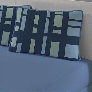 Jogo de Cama Solteiro de Malha 2 peças lençol com elástico azul e Fronha Edromania Clive