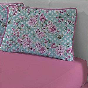 Jogo de Cama Solteiro de Malha 2 peças lençol com elástico e Fronha Edromania Rosa Cerejeira