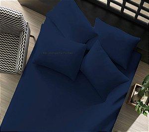 Lençol avulso com elástico Solteiro 1 peça de Malha 100% algodão Portallar Marinho