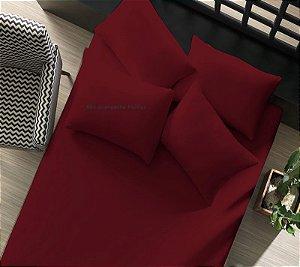 Lençol com elástico Queen avulso 1 peça de Malha 100% algodão Portallar Vermelho Rubi