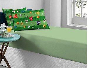 Jogo de Cama Solteiro 2 peças de Malha lençol com elástico liso Portallar e Fronha Futebol Verde