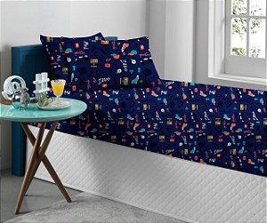 Jogo de Cama Solteiro 2 peças de Malha lençol com elástico Portallar e Fronha Estampado Spoiler