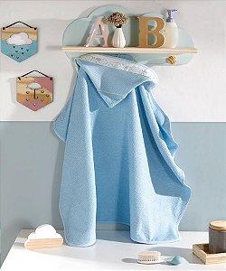 Toalha de Banho com Capuz bebê para Bordar ponto cruz Baby Kids Nuvem Azul