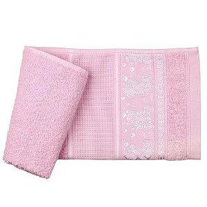 Toalha Lavabo 1 peça 33cm x 50cm 100% algodão para bordar ponto cruz Ursinho Teddy Rosa