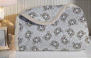 Edredom de Berço em Malha 100% algodão Edromania Bege Tigor Tigre
