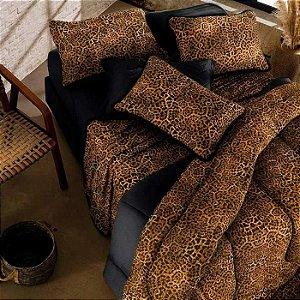 Jogo de Cama Queen 3 peças de Malha 100% algodão lençol com elástico preto e fronhas Onça Vivaldi Congo