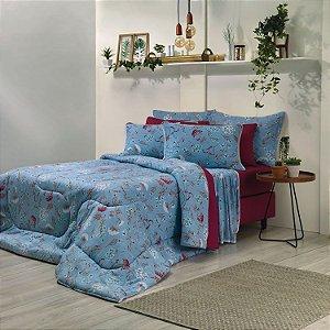 Jogo de Cama Casal 3 peças de Malha 100% algodão lençol com elástico liso e fronhas estampadas Vivaldi Astoria