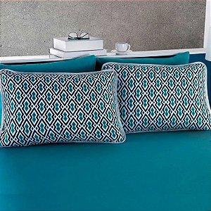 Jogo de Cama Casal  3 peças de Malha 100% algodão lençol com elástico liso e fronhas estampadas Vivaldi Los Angeles