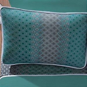 Jogo de Cama Casal  3 peças de Malha 100% algodão lençol com elástico liso e fronhas estampadas Vivaldi New York