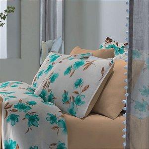 Jogo de Cama Casal  3 peças de Malha 100% algodão lençol com elástico liso e fronhas estampadas Vivaldi Portofino