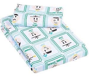 Jogo de Cama Solteiro 2 peças Malha lençol com elástico estampado e Fronha Cebolinha