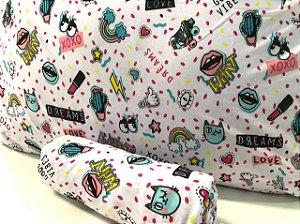 Jogo de Cama Solteiro 2 peças Malha lençol com elástico estampado e Fronha Confeti