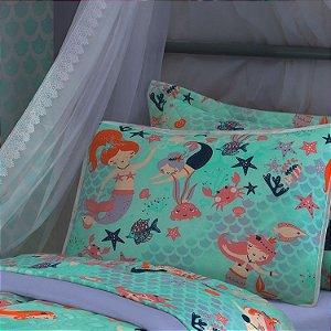 Jogo de Cama Solteiro 2 peças lençol com elástico liso e fronha estampada de Malha 100% algodão Vivaldi Kids Aqua Fun Sereia