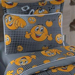 Jogo de Cama Solteiro 2 peças lençol com elástico liso e fronha estampada de Malha 100% algodão Vivaldi Kids Emogis Smile