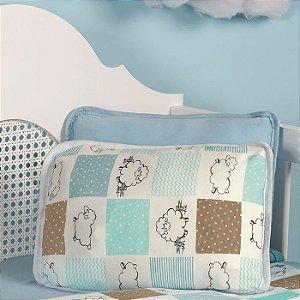 Jogo de Berço 2 peças de Malha 100% algodão Vivaldi Baby Lençol com elástico liso Azul e Fronha Ovelhinhas